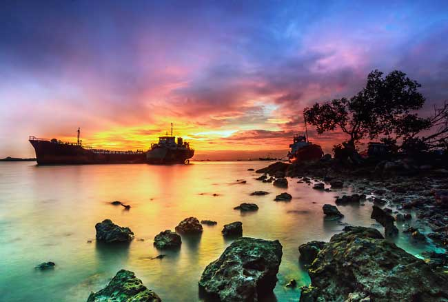 Batam is famous for its ship repair industry.